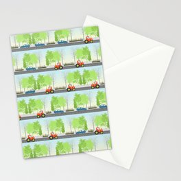 Cars and trees pattern Stationery Cards