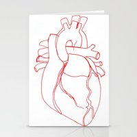 anatomical heart Stationery Cards featuring Anatomical heart by Laurel Howells