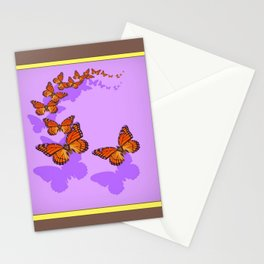 Monarch Butterflies Migration in Lilac Purple Graphic Art Stationery Cards