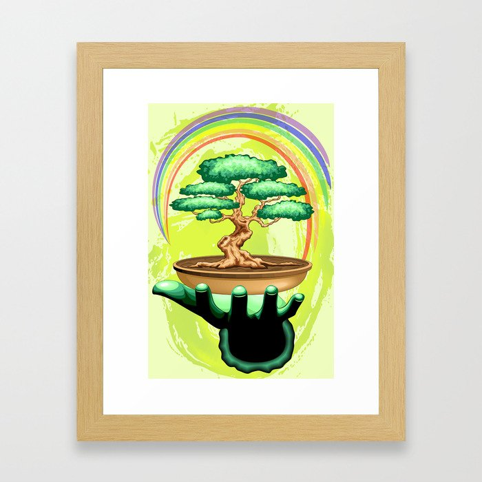 Bonsai Tree and Rainbow on Green Hand - Protecting Nature Framed Art Print