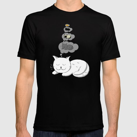 A cat dreaming of a cat that dreams of dreaming of a cat that dreams of dreaming of a cat. T-shirt