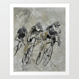 Cycling in the rain Art Print