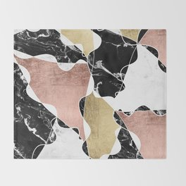 Modern white black marble rose gold foil color block handdrawn geometric lines Throw Blanket
