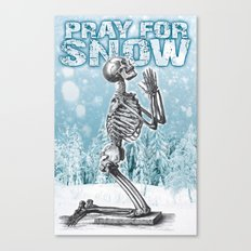 PRAY FOR SNOW (PRAYING SKELETON) Canvas Print