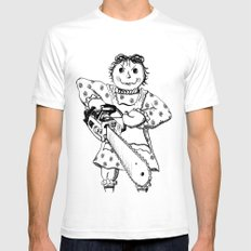 Raggedy Ann with a Chainsaw SMALL Mens Fitted Tee White