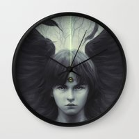thrones Wall Clocks featuring Eye of Raven by Artgerm™
