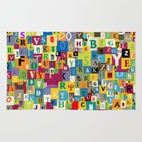alphabet Area & Throw Rugs featuring Alphabet by Rceeh