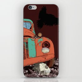 Art print: Old vintage car, the Raven and the Wolf skull iPhone Skin