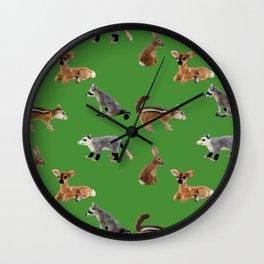 Backyard Critters in Green Wall Clock