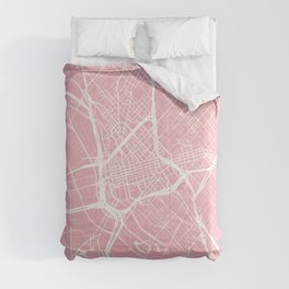 Dallas, Texas, City Map - Pink Comforters