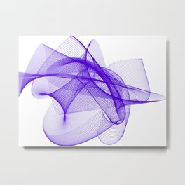 Overlapping Lines Abstract Pattern In Deep Purple Metal Print