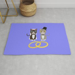 Wedding Cats with Rings Rug