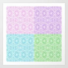 Pastel Panel Pink Lavender Green Blue Art Print