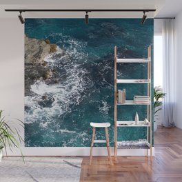 Rocky Blue Coastline Waves Nature Scene Wall Mural