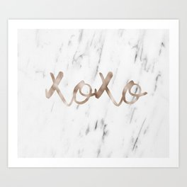 Rose gold marble XOXO Art Print