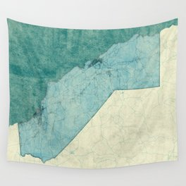 California State Map Blue Vintage Wall Tapestry