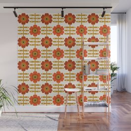 Famoo - floral retro 70s style throwback 1970's flower pattern Wall Mural