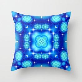 Christmas blue white snowflake pattern SB7 Throw Pillow