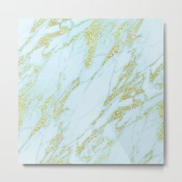 Gold Marble - Shimmery Glittery Yellow Gold Marble Metallic Metal Print