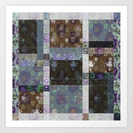 Lotus flower coffee brown and lavender blue stitched patchwork - woodblock print style pattern Art Print