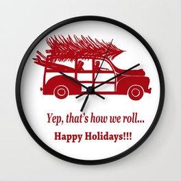 Happy Holidays Woody Wall Clock