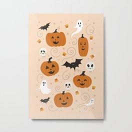 Pumpkin Party on Beige Metal Print