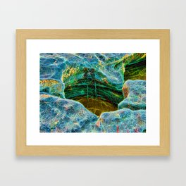 Abstract rocks with barnacles and rock pool Framed Art Print