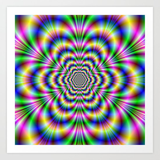 Psychedelic Hexagon Art Print