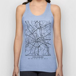 COLOGNE GERMANY BLACK CITY STREET MAP ART Unisex Tank Top