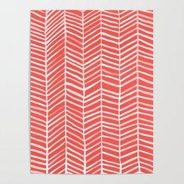 Coral Herringbone Poster
