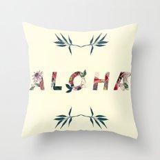 Aloha in Flowers Throw Pillow