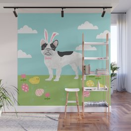 French Bulldog easter spring dog breed gifts pure breed frenchies white with black coat Wall Mural