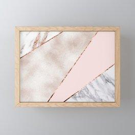 Spliced mixed rose gold marble Framed Mini Art Print