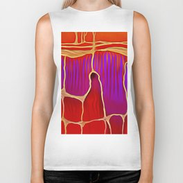 Distant Trees in Violet and Vermillion Biker Tank