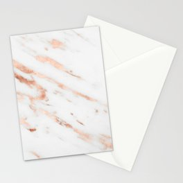 Rose Quartz Foil on Real White Marble Stationery Cards