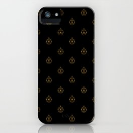 Golden Christmas Holiday Ornaments on Black Background iPhone Case