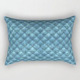 Quilted Ocean Blue Velvety Pattern Rectangular Pillow