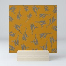 Harakeke Flax Seed Pods (Ochre and dark grey) Mini Art Print