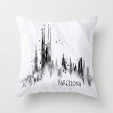 White Barcelona Skyline Throw Pillow