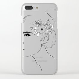 Fashion Illustration Floral Hairdo Bridal Updo Hair Style Drawing Line Art Clear iPhone Case