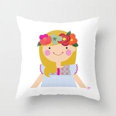 Flower crown girl Throw Pillow