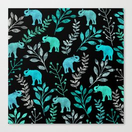 Watercolor Flowers & Elephants IV Canvas Print