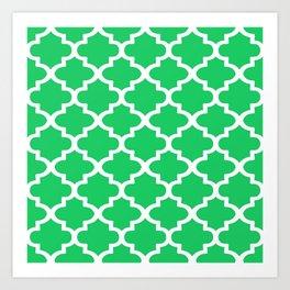 Arabesque Architecture Pattern In Zen Green Art Print