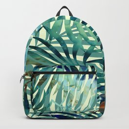 Hawaii Prints, Palm Leaves, Teal and Blue, Abstract Art Backpack