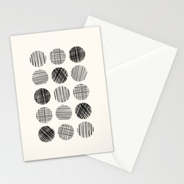 Abstract Line Work Circles in Black and Cream Stationery Cards