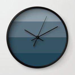 Minimal Retro Sunset / Sunrise - Ocean Blue Wall Clock