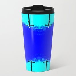 abstract geometric aqua and dark blue stripe pattern Travel Mug