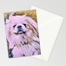 pekingese at the park Stationery Cards