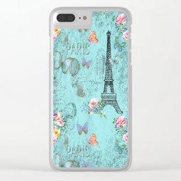 Paris - my blue love Clear iPhone Case