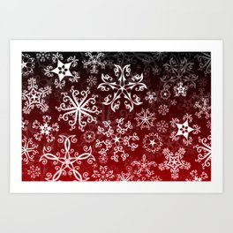Symbols in Snowflakes on Holly Berry Art Print